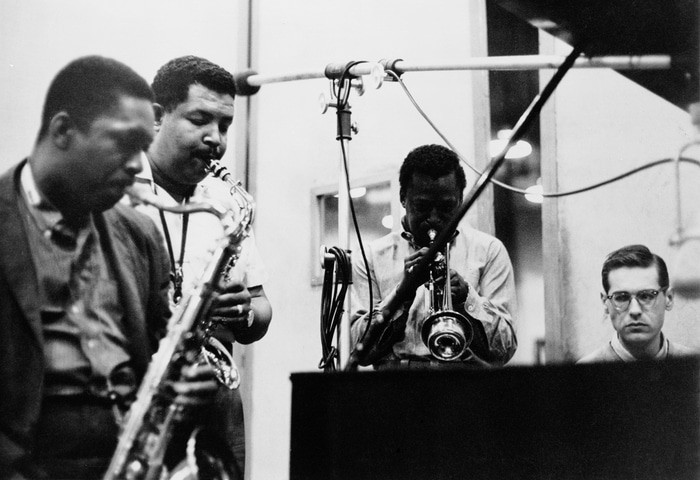During a recording session (later released as ''58 Miles'), American jazz musicians John Coltrane (1926 - 1967), Cannonball Adderley (1928 - 1975), Miles Davis (1926 - 1991), and Bill Evans (1929 - 1980) perform in the studio, New York, New York, May 26, 1958. (Photo by Frank Driggs Collection/Getty Images)