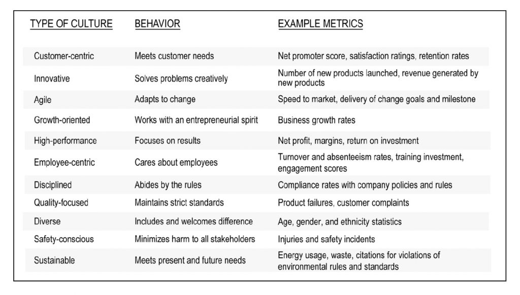 Fig.3: Examples of Metrics to measure Culture Impacts. Source: Siobhan McHale, The Insider's Guide to Culture Change, page 164
