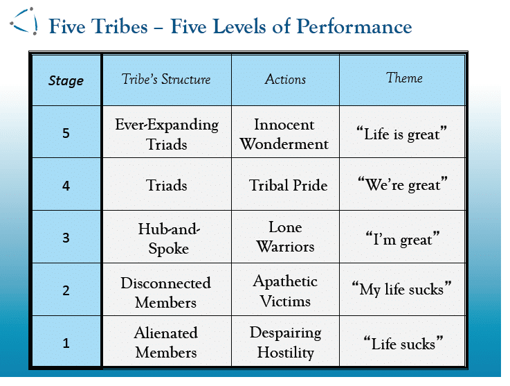 Tribal Stages. (Logan and King, 2008)