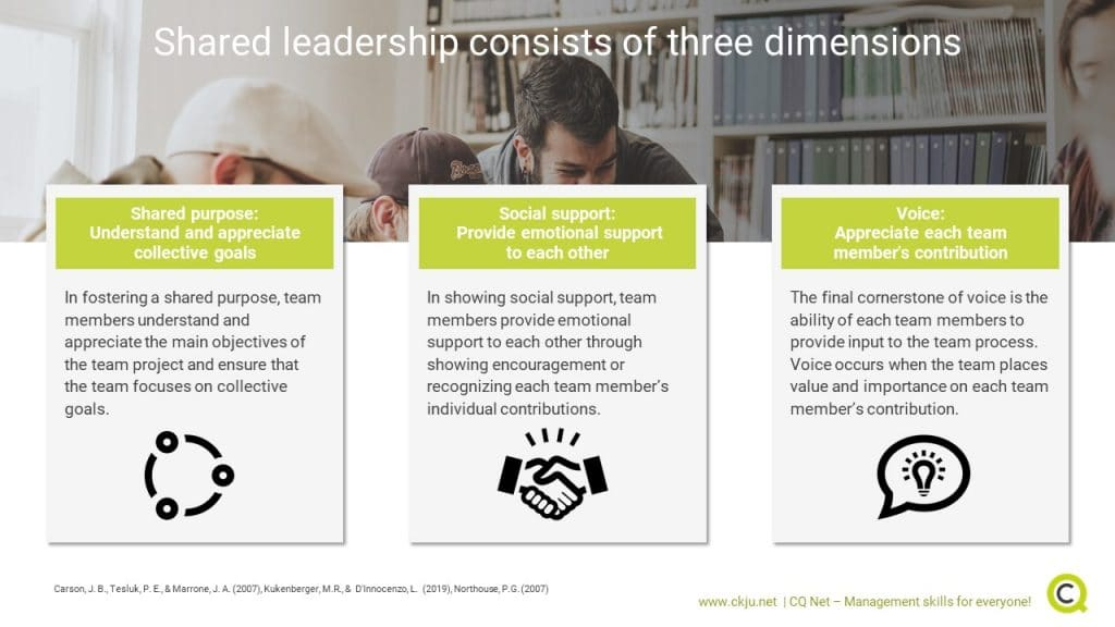 Three Dimensions of Shared Leadership. Source: CQ Net C (Towler, 2019)