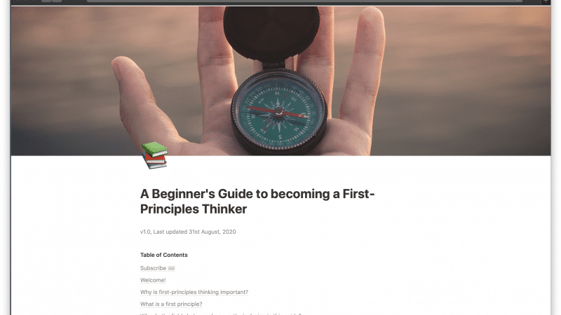 A Beginner's Guide to becoming a First-Principles Thinker