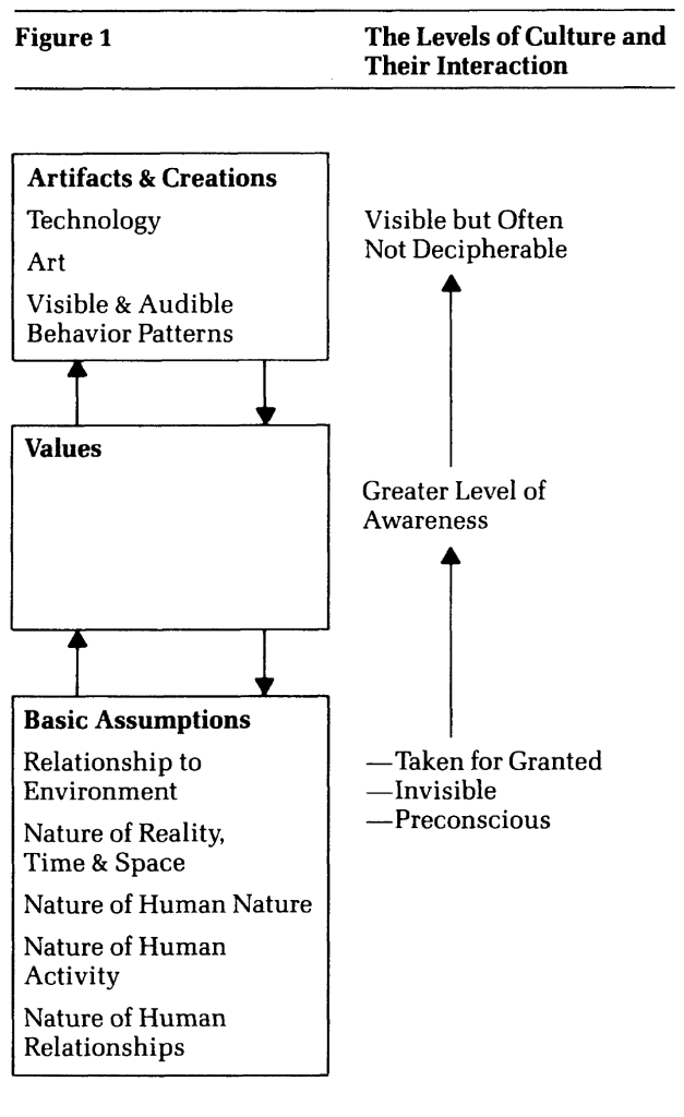 Fig. 17: The Levels of Culture and Their Interactions according to Schein (1984)